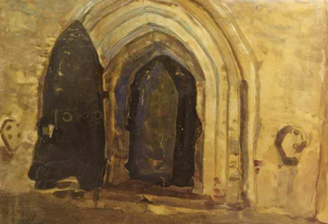 Church door of St. Peter and Paul in Novgorod (scenery sketch). Roerich N.K. (Part 2)