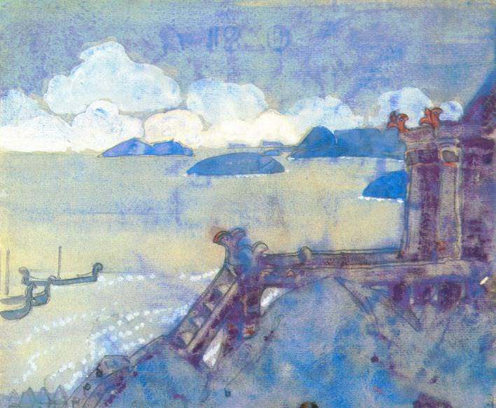 "The Castle by the Sea (sketch for the painting ""Varangian Sea""). Roerich N.K. (Part 2)"