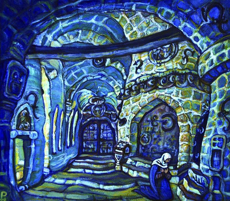 In convent (sketch, initial version). Roerich N.K. (Part 2)