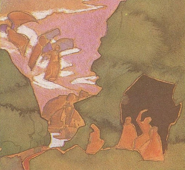 """Sketch for the painting """"Daughters of Earth"""" (sketch for the painting """"Sons of Heaven""""). Roerich N.K. (Part 2)"""