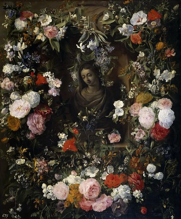 Verendael, Nicolaes van -- Guirnalda rodeando a la Virgen María. Part 4 Prado Museum