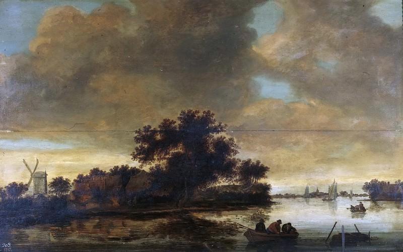 Hulst, Frans Anthonisz. de -- Paisaje fluvial con barcas y un molino en la orilla. Part 4 Prado Museum