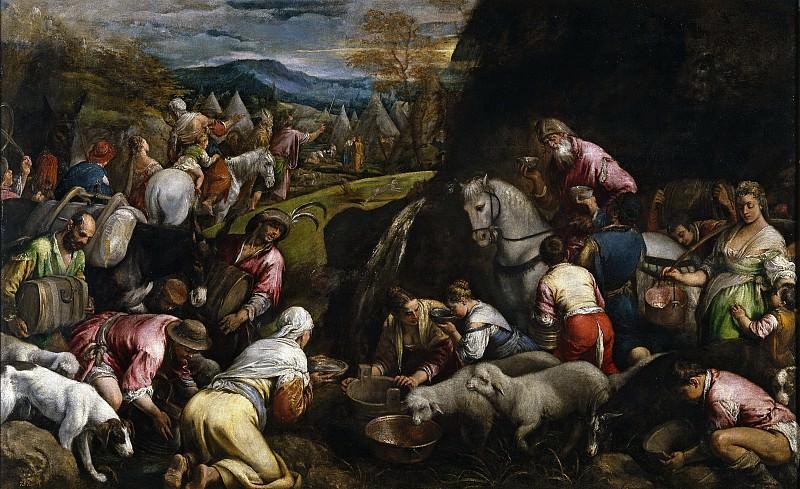 Bassano, Jacopo -- Los israelitas bebiendo el agua milagrosa. Part 4 Prado Museum