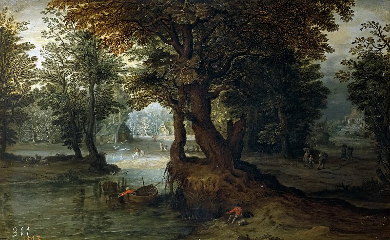 Bosque con laguna (y taller). Jan Brueghel the Younger
