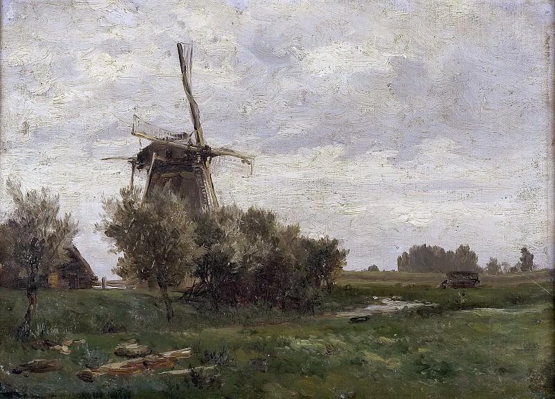Haes, Carlos de -- Molinos de viento (Holanda). Part 4 Prado Museum
