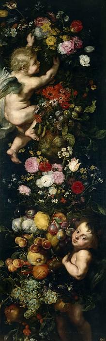Brueghel el Viejo, Jan; Snyders, Frans; Anónimo (Taller de Rubens, Pedro Pablo) -- Festón de flores y frutas y angelotes. Part 4 Prado Museum