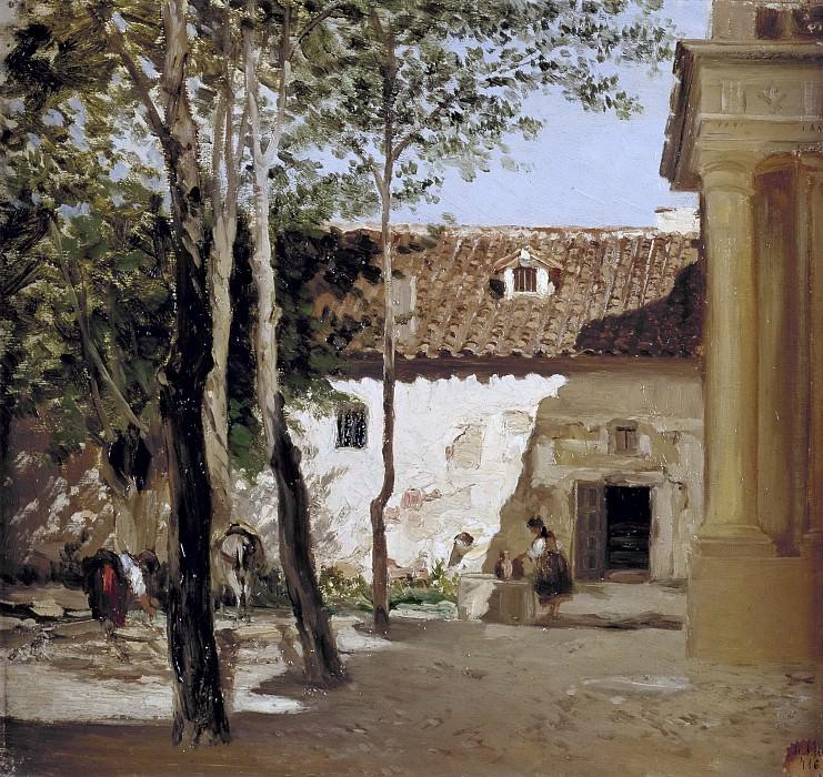 Haes, Carlos de -- Patio del Monasterio de Piedra. Part 4 Prado Museum
