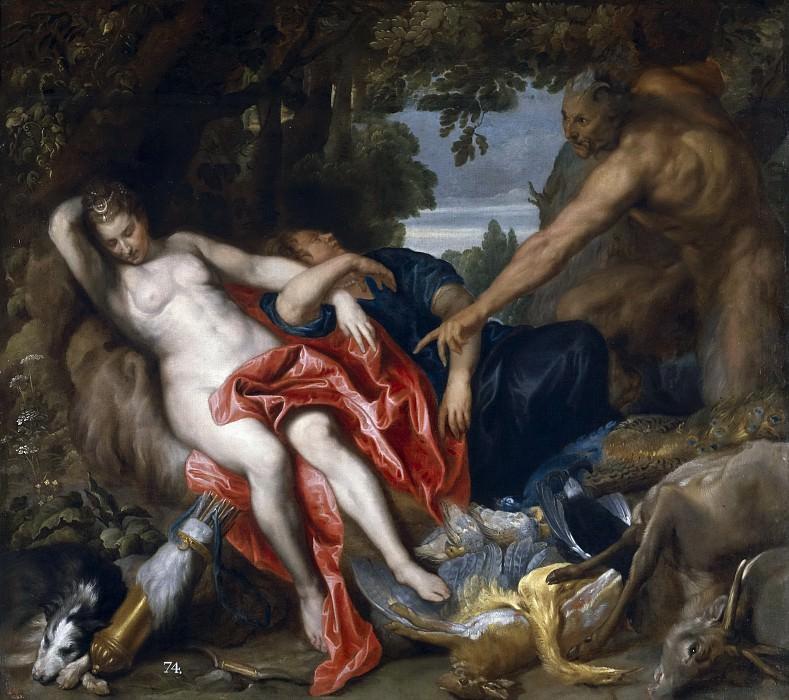 Dyck, Anton van -- Diana y una ninfa sorprendidas por un sátiro. Part 4 Prado Museum