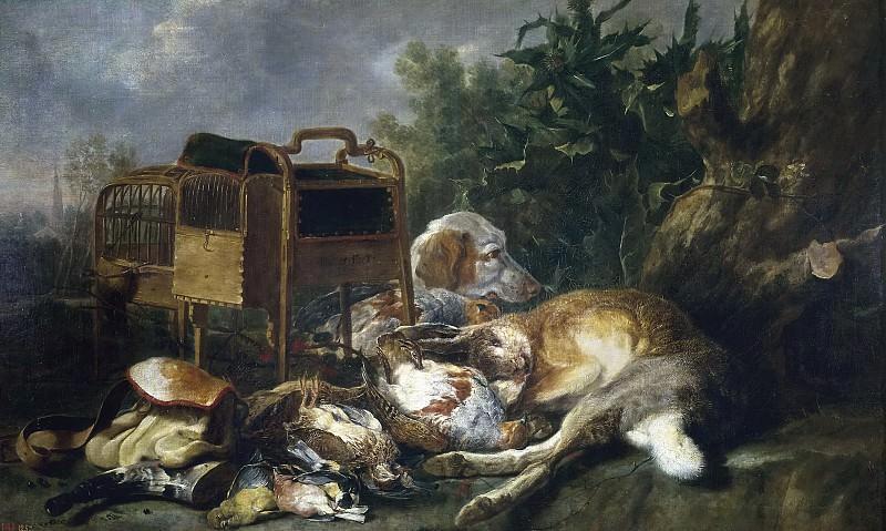 Fyt, Jan -- Caza muerta con un perro. Part 4 Prado Museum