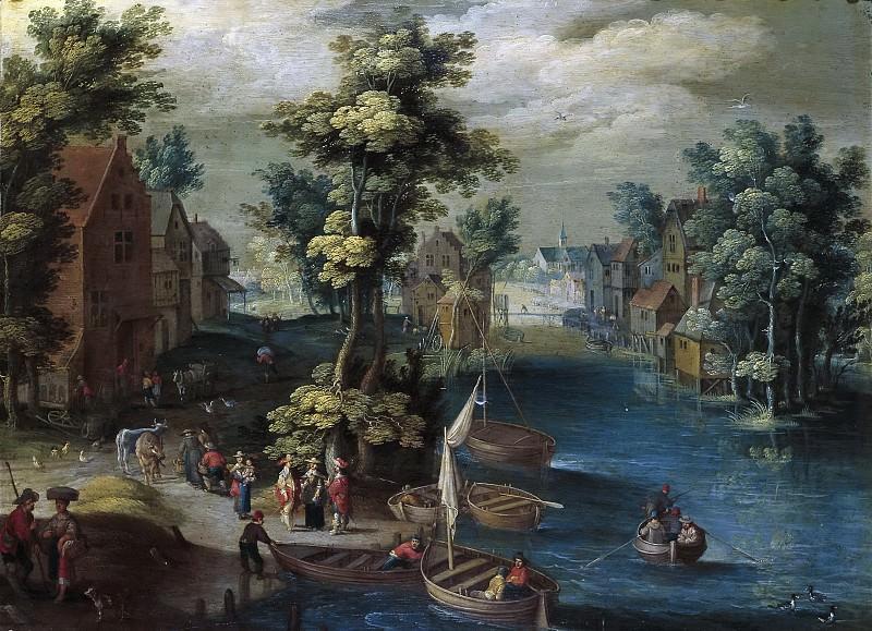 Oosten, Izaak van -- Paisaje con barcas. Part 4 Prado Museum