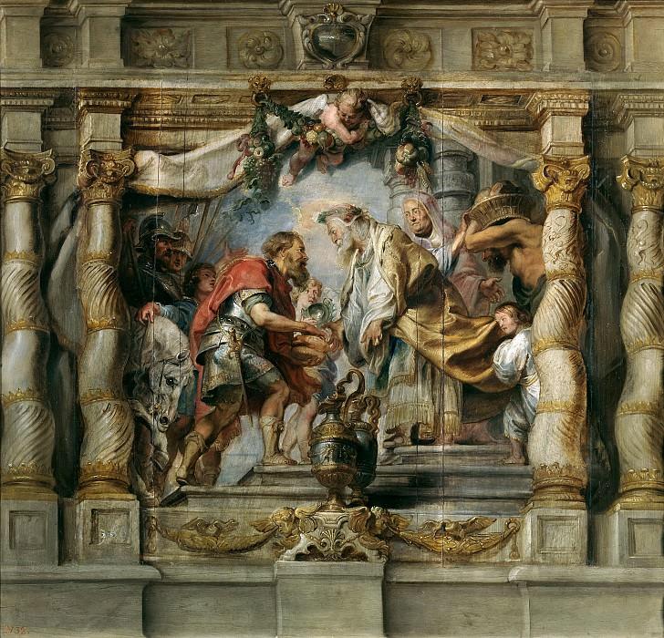 Rubens, Pedro Pablo -- Abraham ofrece el diezmo a Melquisedec. Part 4 Prado Museum