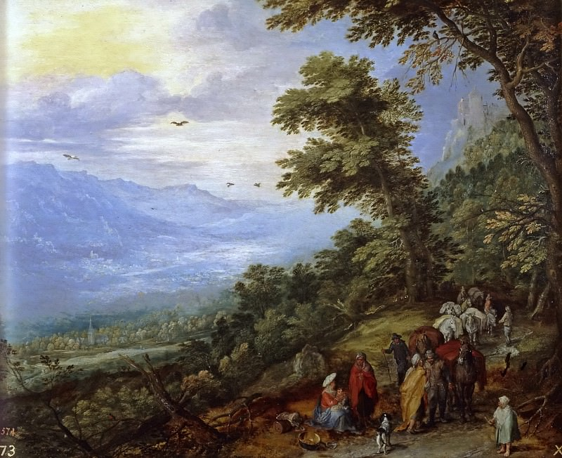 Train and Gypsies in a forest. Jan Brueghel The Elder