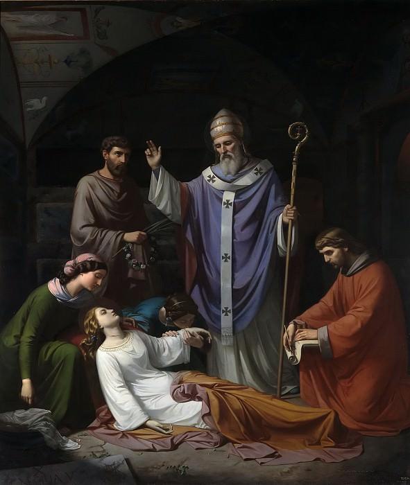 Madrazo y Kuntz, Luis de -- Entierro de Santa Cecilia en las catacumbas de Roma. Part 4 Prado Museum