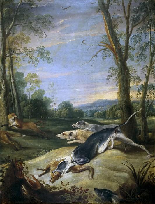 Snyders, Frans -- Zorras perseguidas por perros. Part 4 Prado Museum