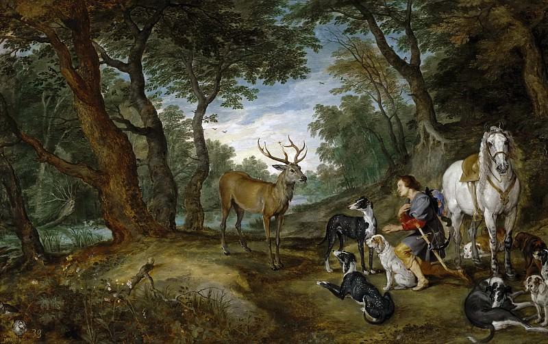 La visión de San Huberto. Jan Brueghel The Elder
