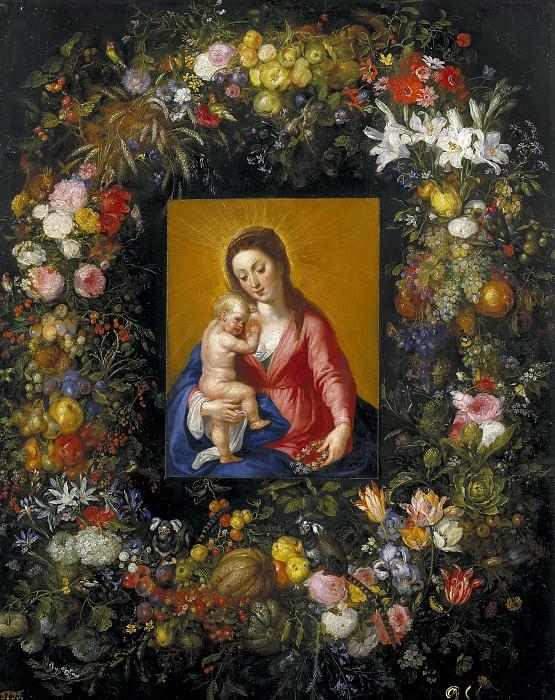 Guirnalda con la Virgen y el Niño. Jan Brueghel The Elder