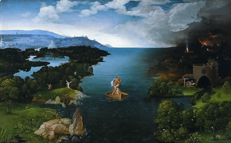 Patinir, Joachim -- El paso de la laguna Estigia. Part 4 Prado Museum