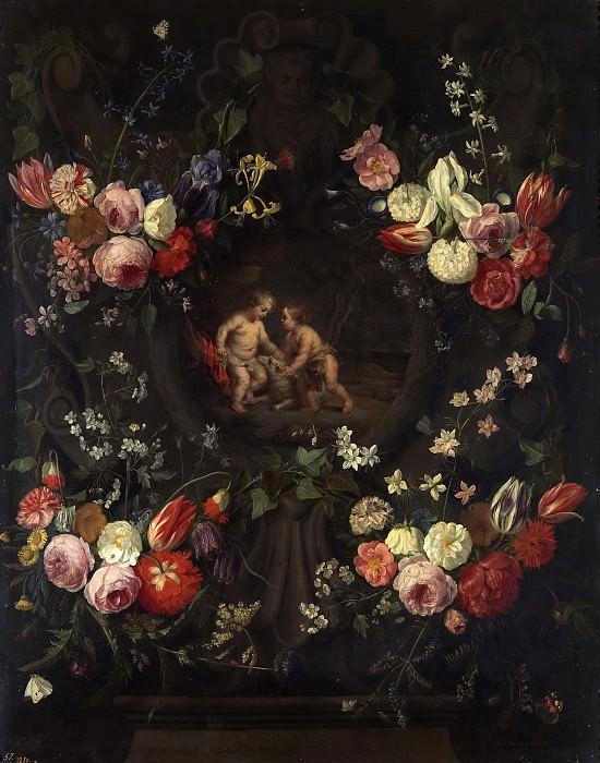 Кессель, Ян ван I -- Иисус и Иоанн в цветочной гирлянде. Часть 4 Музей Прадо