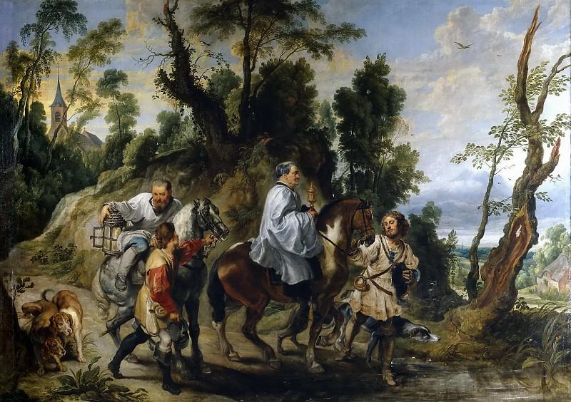 Питер Пауль Рубенс и Ян Вильденс -- Помощь Рудольфа Габсбурга священникам, спешащим к умирающему. Часть 4 Музей Прадо