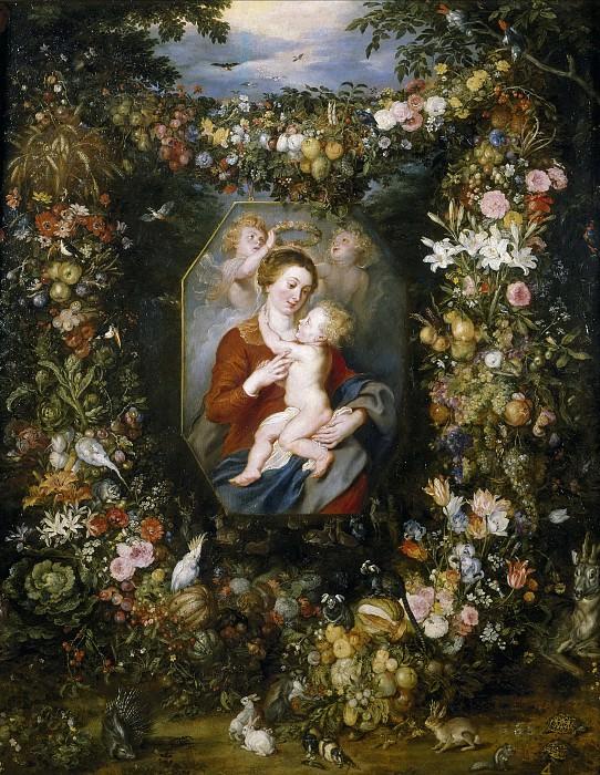 Rubens, Pedro Pablo; Brueghel el Viejo, Jan -- La Virgen y el Niño en un cuadro rodeado de flores y frutas. Part 4 Prado Museum