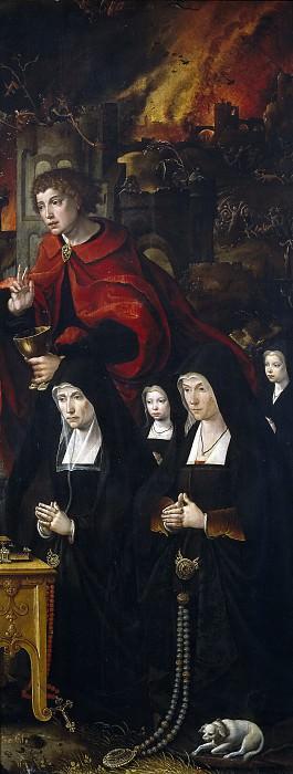 Coecke van Aelst, Pieter -- San Juan Evangelista con dos damas y dos niñas orantes/ San Adrián. Part 4 Prado Museum
