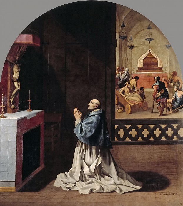 Carducho, Vicente -- El padre Bernardo rezando en la cartuja de Portes. Part 4 Prado Museum