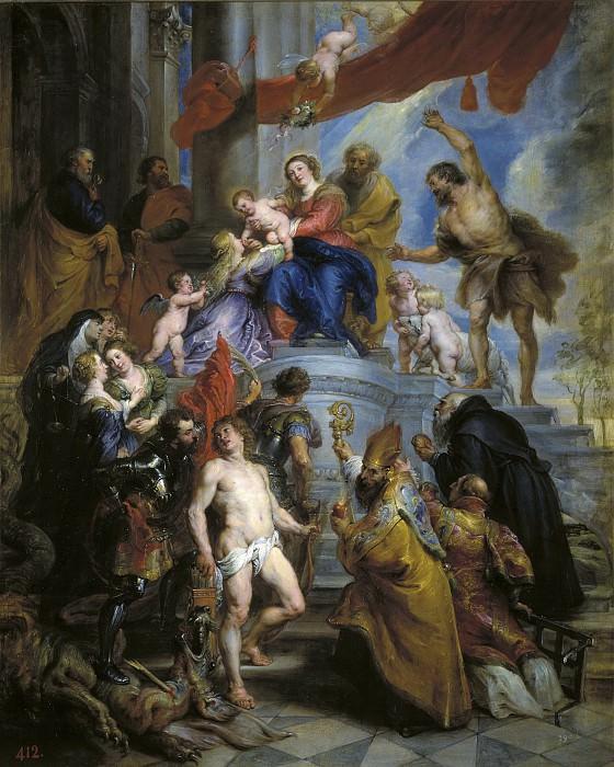 Rubens, Pedro Pablo -- La Sagrada Familia rodeada de santos. Part 4 Prado Museum