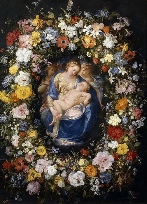Guirnalda con la Virgen, el Niño y dos ángeles. Jan Brueghel The Elder