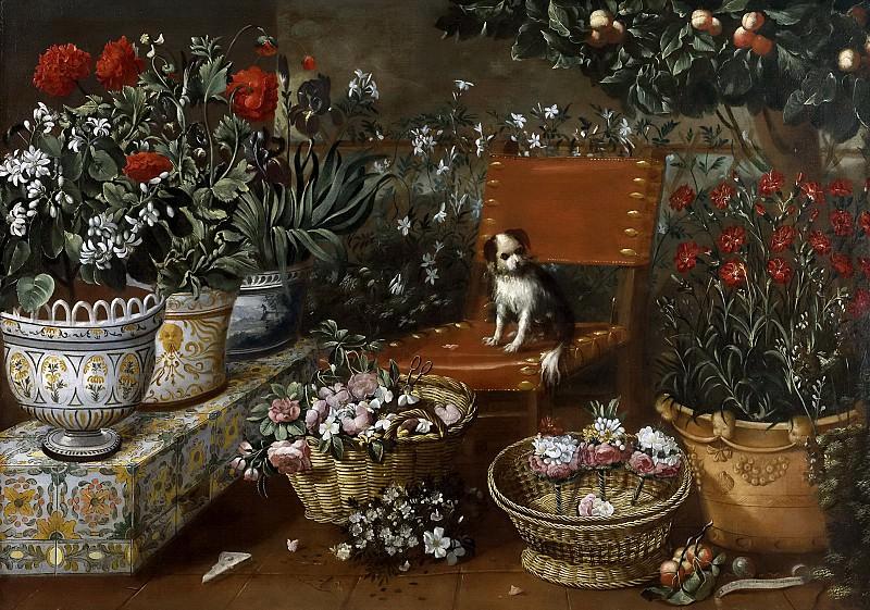 Hiepes, Tomás -- Rincón de jardín con perrito. Part 4 Prado Museum
