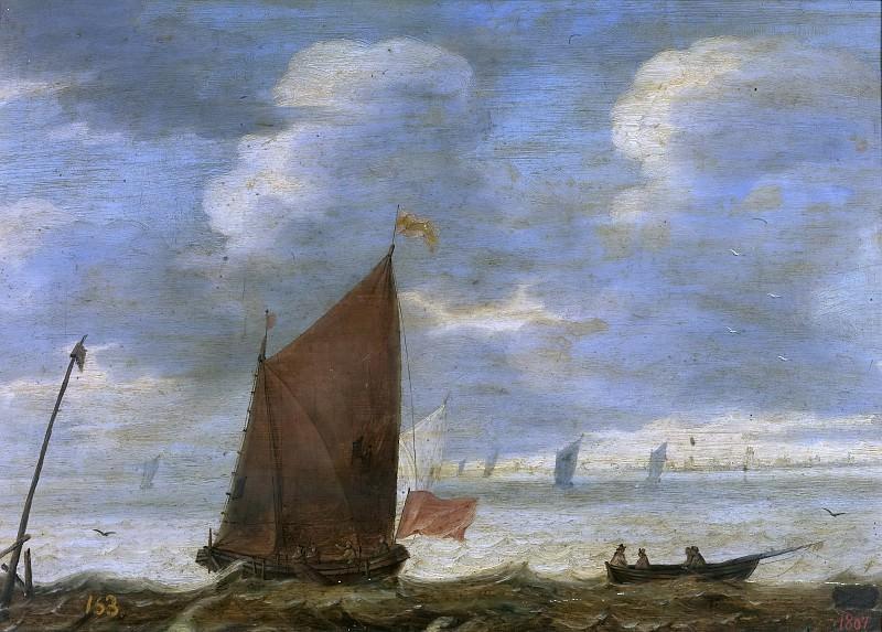 Anónimo -- Velero y barca de pescadores frente a la costa. Part 4 Prado Museum