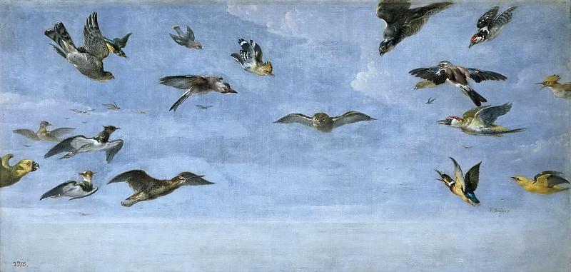 Snyders, Frans -- Un mochuelo y multitud de pájaros. Part 4 Prado Museum