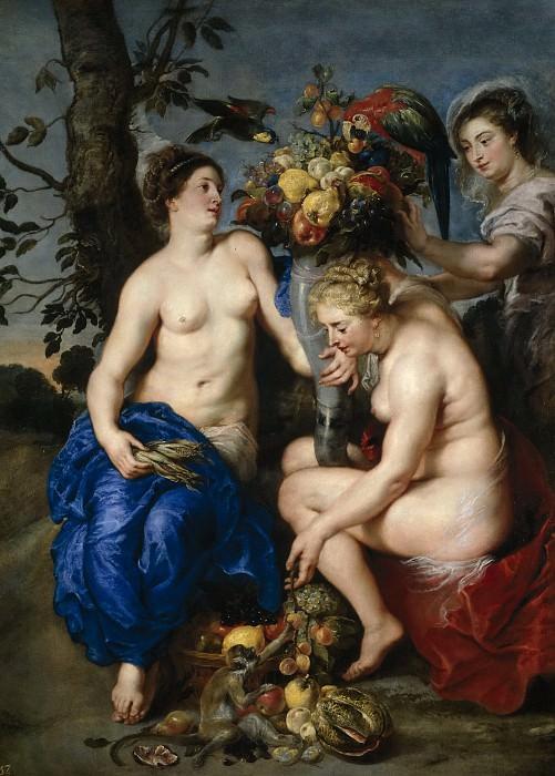 Rubens, Pedro Pablo; Snyders, Frans -- Ninfas con el cuerno de la abundancia. Part 4 Prado Museum