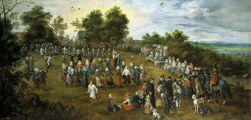 Brueghel el Viejo, Jan -- Baile campestre ante los Archiduques. Part 4 Prado Museum