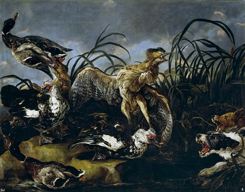 Fyt, Jan -- Ánades y gallinas de agua. Part 4 Prado Museum