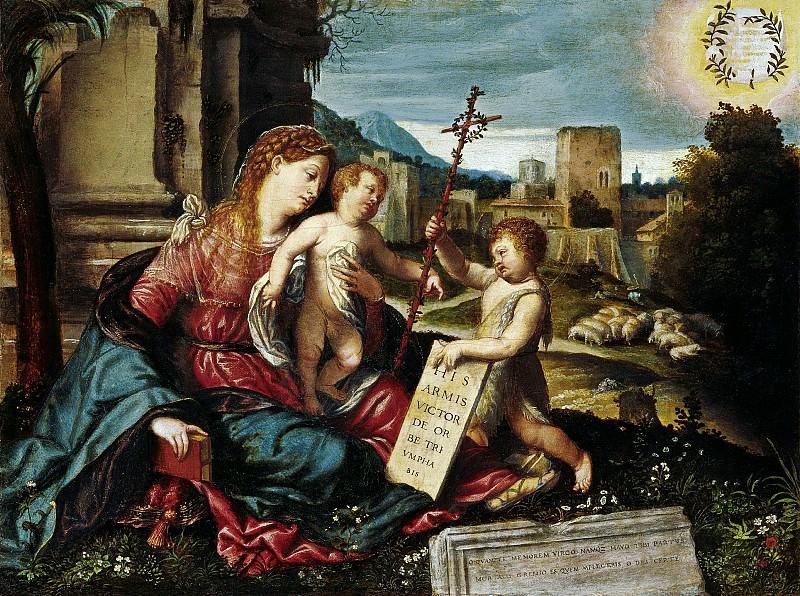 Моретто да Брешиа - Мадонна с младенцем и Иоанном Крестителем. ок1550. 38х51. М Лихтенштейн Вена. Liechtenstein Museum (Vienna)