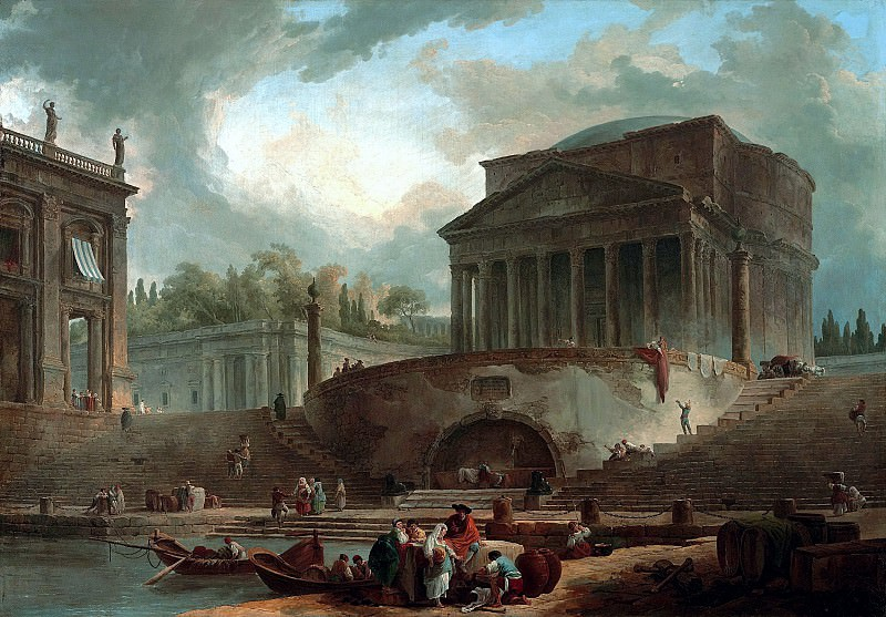 Юбер Робер - Каприччо с Пантеоном и Порто ди Рипетта. 1761. 102х146. М Лихтенштейн. Liechtenstein Museum (Vienna)