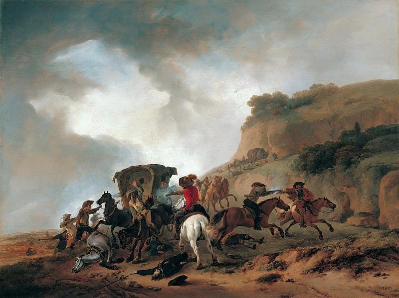 Филиппс Воуверман - Нападение на карету. 1644. 60х79. М Лихтенштейн. Музей Лихтенштейн (Вена)