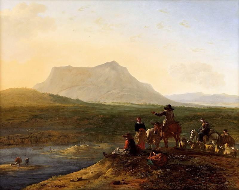 Дюжарден, Карел - Панорамный пейзаж с пастухами и овцами. 90х116. Колл Гогенбухау. Музей Лихтенштейн (Вена)