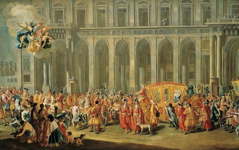 Никколо Мария Росси - Прогулка вице-короля Неаполя графа Харраха из королевского дворца. ок1730. Колл Харрах. Liechtenstein Museum (Vienna)