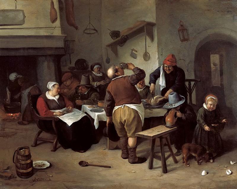 Ян Стен - Большая кухня. 1665-70. 36х45. М Лихтенштейн. Музей Лихтенштейн (Вена)