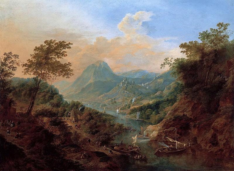 Ян Гриффер I - Пейзаж с видом на Рейн. 51х69. М Лихтенштейн. Музей Лихтенштейн (Вена)