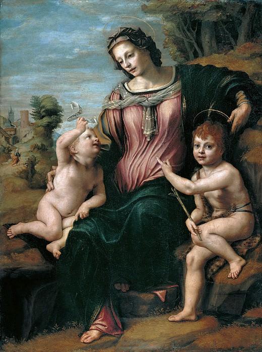Франчабиджо (Франческо ди Кристофано) - Мадонна с младенцем и Иоанном Крестителем. 1518-24. 121х90. М Лихтенштейн. Liechtenstein Museum (Vienna)