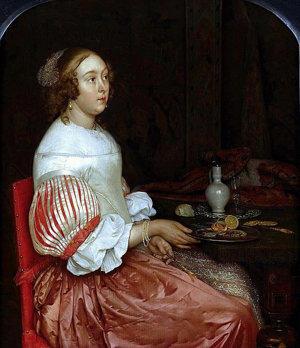 Эглон ван дер Нер - Молодая дама за завтраком. 1665. 31х27. М Лихтенштейн. Музей Лихтенштейн (Вена)