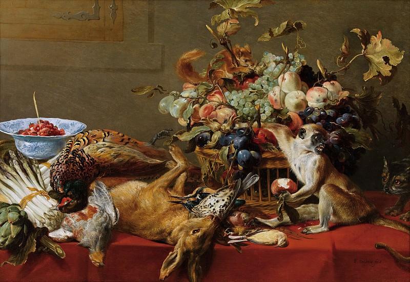 Франс Снейдерс - Натюрморт с обезъянкой, котом и белкой. 81х118. Колл Гогенбухау. Liechtenstein Museum (Vienna)