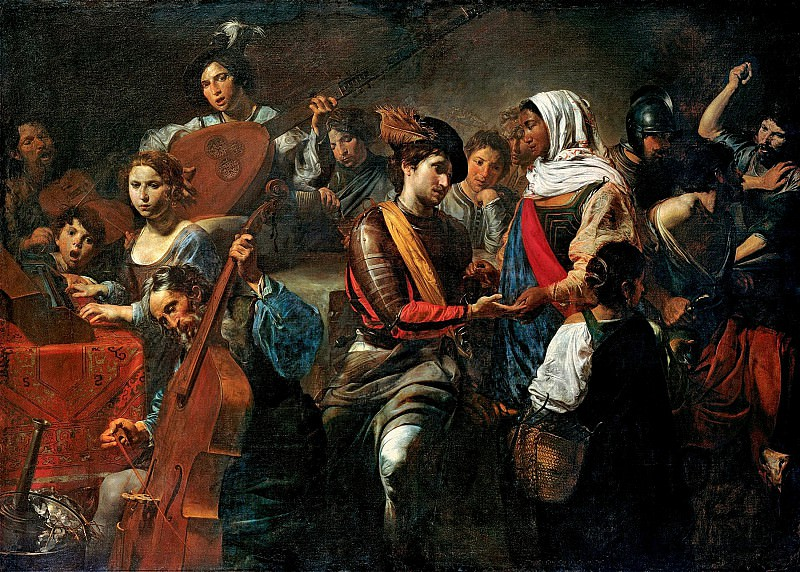 Валантен де Булонь - Веселая компания с гадалкой. 1631. 190х265. М Лихтенштейн. Liechtenstein Museum (Vienna)