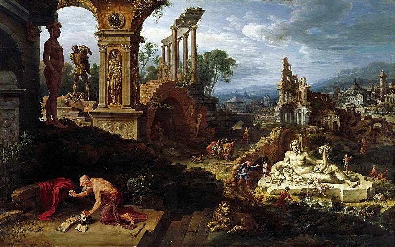 Мартин ван Хемскерк - Пейзаж со св Иеронимом. 1547. 105х161. Колл Букхейм. Музей Лихтенштейн (Вена)