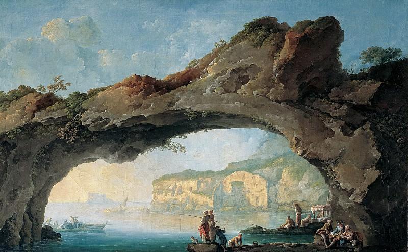 Карло Бонавиа - Большая скалистая арка с видом на море близ Неаполя. 1754-56.53х85. Колл Харрах замок Рохрау. Музей Лихтенштейн (Вена)