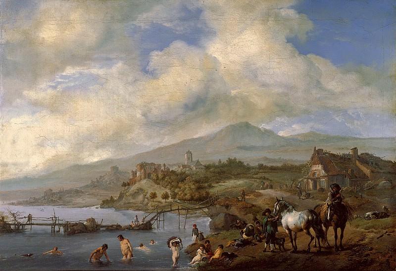 Филиппс Воуверман - Пейзаж с купальщиками. ок1660. 59х81. М Лихтенштейн. Liechtenstein Museum (Vienna)