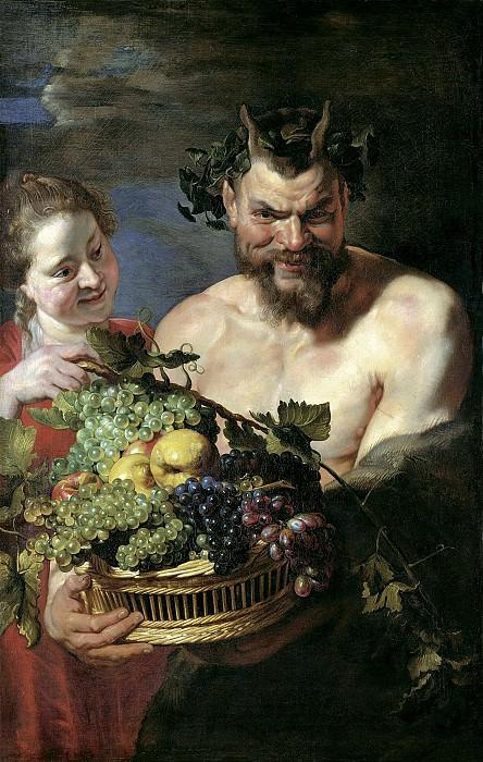 Питер Пауль Рубенс - Сатир и женщина с корзиной фруктов. 1615. 113х71. Колл Букхейм. Liechtenstein Museum (Vienna)