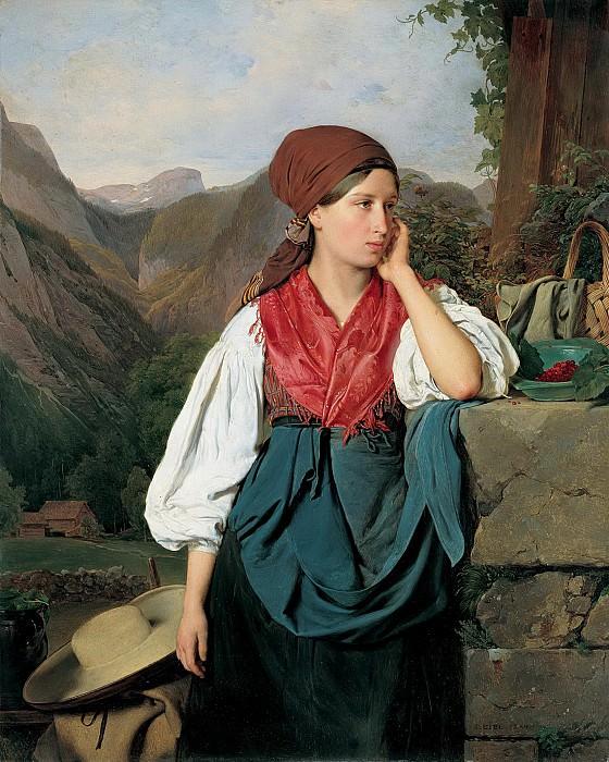 Франц Эйбл - Собирательница ягод на фоне горного пейзажа. 1844. 42х34. Собр принца Лихтенштейн. Liechtenstein Museum (Vienna)